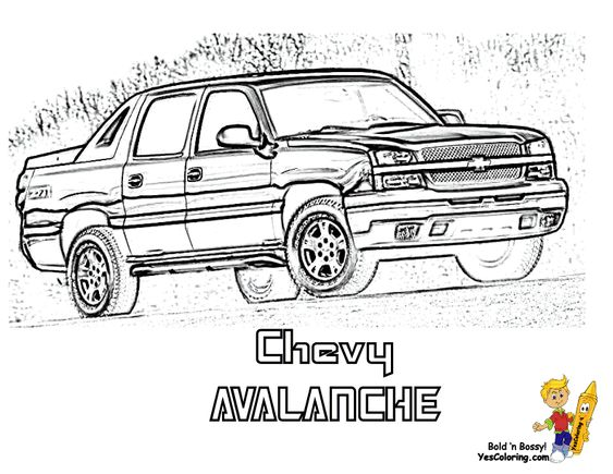 Chevy Avalanche Pickup Truck Coloring Page. You Can Print