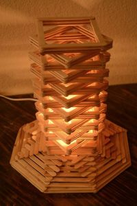 Cool craft stick lamp with a geometric design. | craft ...