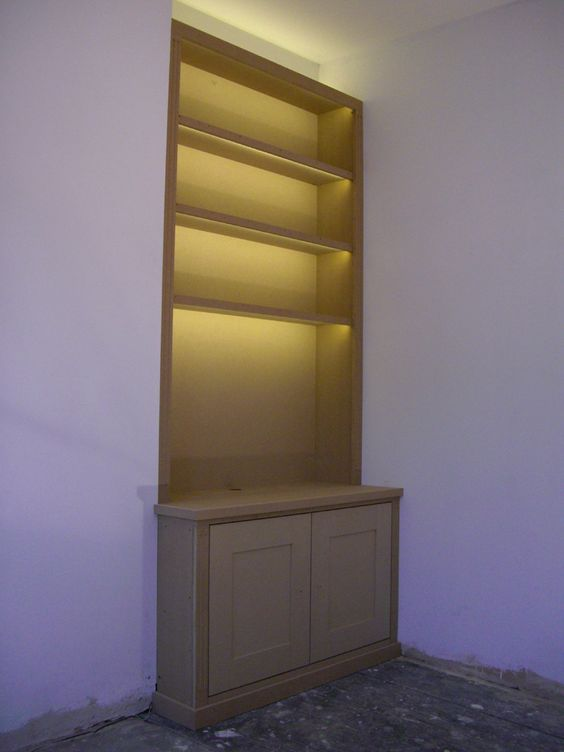 Fitted Alcove Bookcase With Lumilum Warm White Led Strip