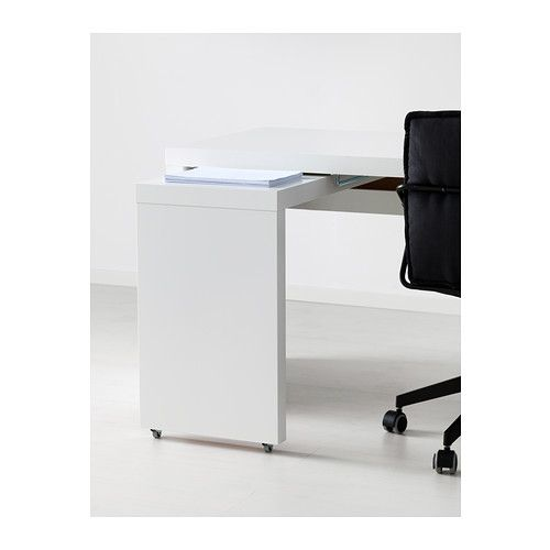 MALM Desk with pullout panel white  Cable Shelves and
