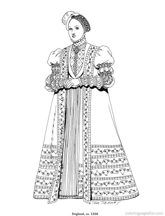 Renaissance Costumes and Clothing Coloring Pages 36