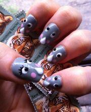 rhino decoden nail art hand painted