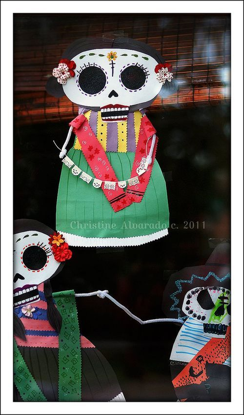 """""""Dia de los Muertos"""" decorations we created for our front"""