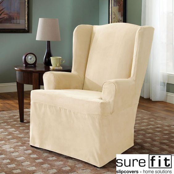 Sure Fit Cream Wing Chair Cover by Sure Fit  Chair