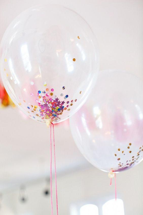 DIY feestdecoratie | transparante confetti, glitter ballonnen