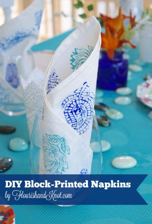DIY Block-Printed Napkins in blues and turquoise | flourishandknot.com: