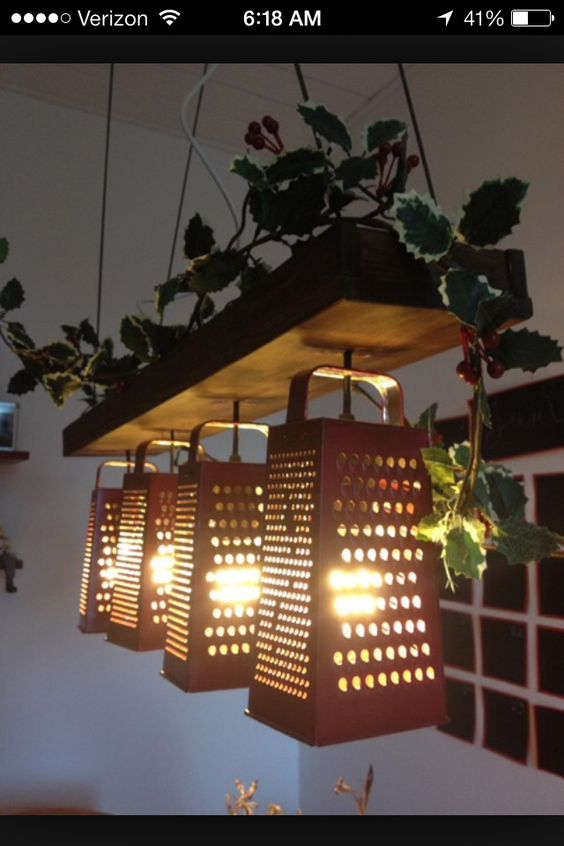 Cheese Grater Kitchen Light Fixture Vintage Rustic Home