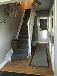 Love this hallway painted in Farrow & Ball 'lamp room grey ...