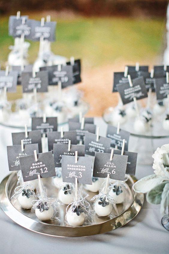 "Cake pop escort cards!!! have a sign ""something sweet to help you find you seat"":"