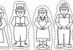 printable coloring pilgrim and indian finger puppets