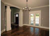 the white trim, gray walls and dark wood floors love the ...