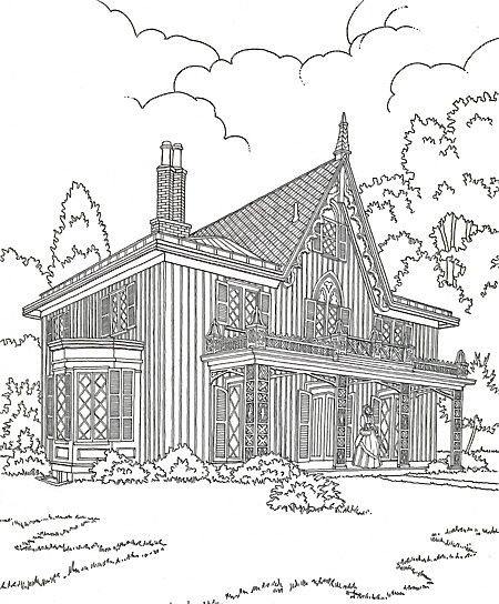 Gothic house, Coloring pages for adults and Colouring