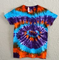 Small Adult v-neck Orange Purple Blue tie dye shirt by ...