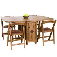 Sedona Rustic Oak Five Piece Dinette Set: Drop Leaf ...