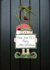 Wooden Elf-Christmas Door Decor-Red Bells-Sage Raffia ...