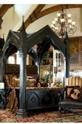 gothic medieval decor bedroom bed victorian room gothique canopy fantasy castle furniture interior masculine decoration four poster bedrooms dark deco