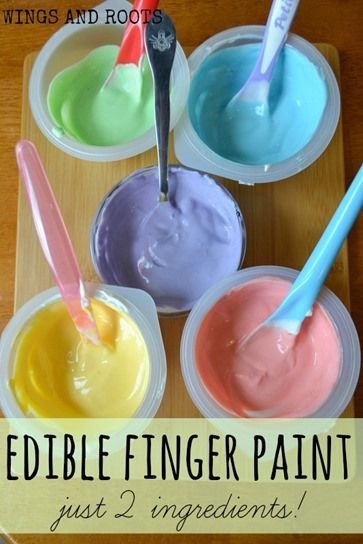 Edible finger paints with just 2 ingredients! via Wings and Roots - For baby safe sensory play.