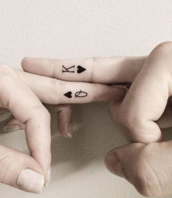 Ring Finger Letter K Tattoo On Finger