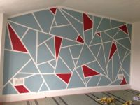 DIY geometric feature wall. Frog tape and Dulux Roasted