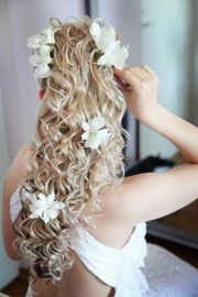curly hair with flowers flower