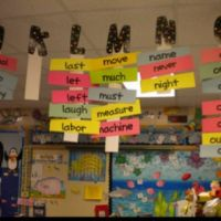 Hanging word wall! Fantastic idea for a small classroom ...