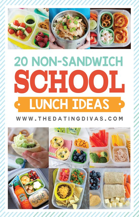 20 Sandwich FREE lunch ideas for kids! These are so do-able (quick and easy)! No more boring school lunches! www.TheDatingDivas.com:
