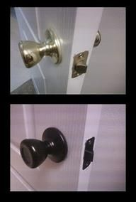 Paint all the shiny brass knobs with Rustoleum Oil Rubbed bronze spray. EASY WAY TO UPDATE YOUR HOME!: