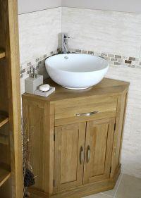 corner bathroom vanity | Oak and Ceramic Corner Bathroom ...