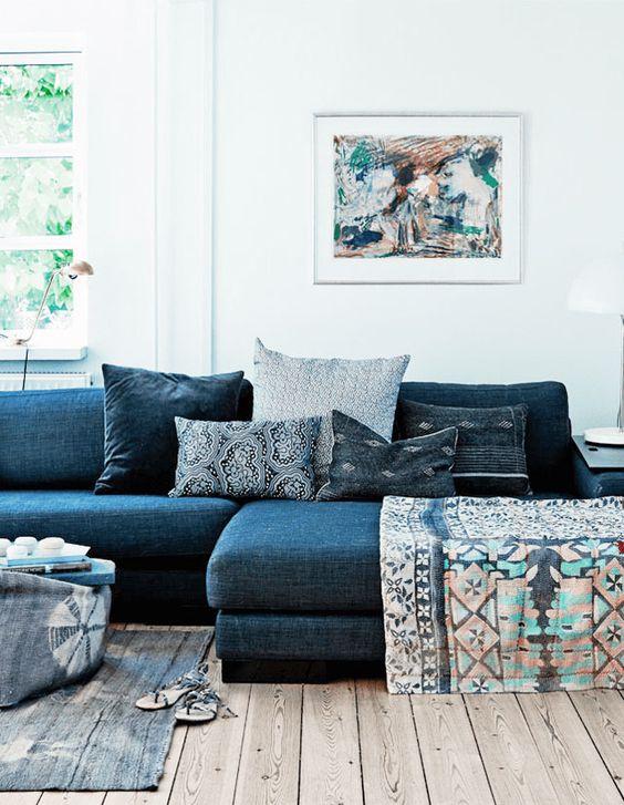 denim sofa + indigo pillows: