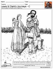 Coloring pages--Sacagawea, Hidatsa Warrior, Lewis & Clark