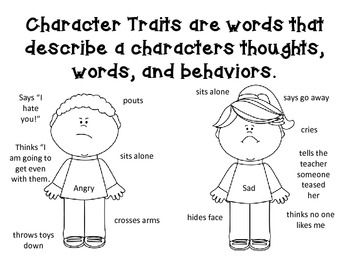 CHARACTER TRAITS ANCHOR CHART AND FOLDABLES FOR
