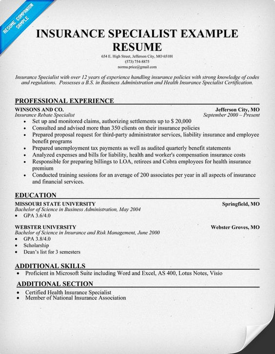 sample resume for health insurance specialist
