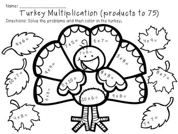 Multiplication and division, Thanksgiving and Math on