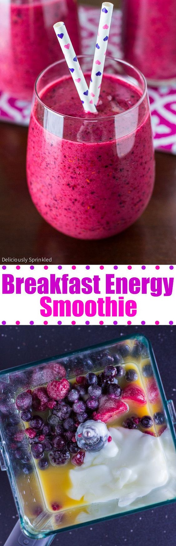 Breakfast Energy Smoothie Recipe via Deliciously Sprinkled - start your day off with the delicious smoothie that will give you a burst of energy!