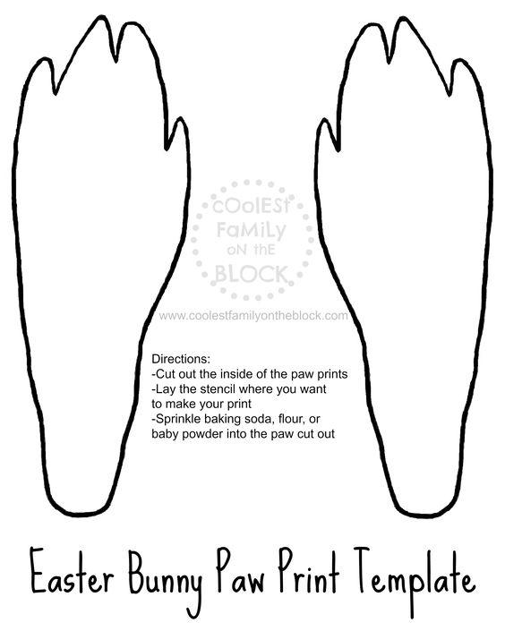 #Free Printable Easter Bunny Paw Prints Template: Back