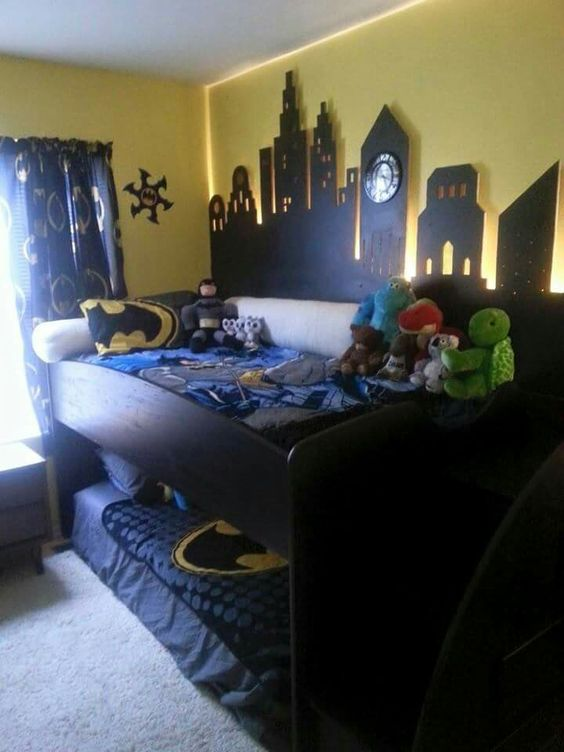 Shelves Gotham city and Beds on Pinterest