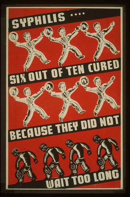 Vintage WPA Syphilis Poster WWII Era Heatherleila3