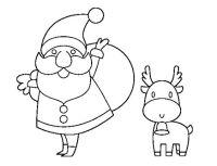 Disegno di Babbo Natale e una renna da colorare, stampare ...