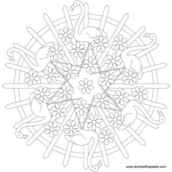 Animal Mandala Picture to Color, Flamingo Coloring Pages