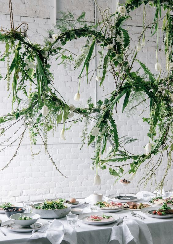 greenery floral installation for spring brunch via @citysage: