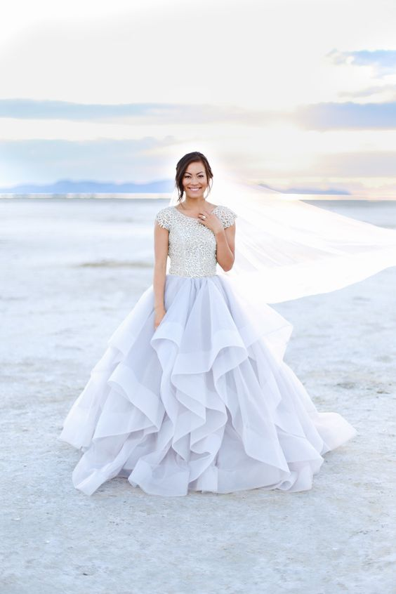 modest wedding dress with beaded bodice and sleeves from alta moda (modest bridal gown)