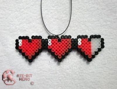 Wish | Legend of Zelda Health Life Hearts Necklace Bead Sprite Perler Art: