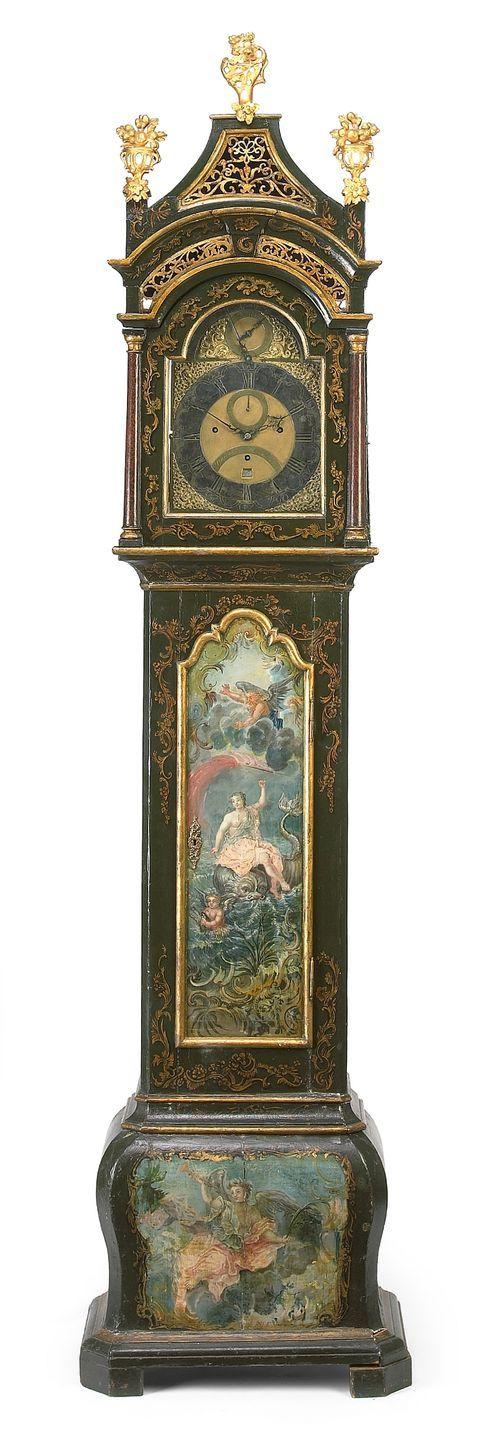 Musical Tall Case Clock,  A parcel gilt paint decorated musical tall case clock Percival Mann, Londonsecond half 18th century,height 103...: