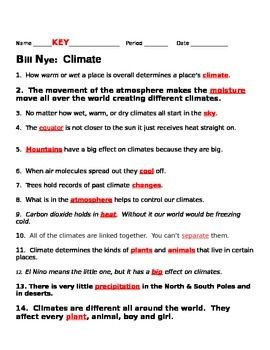 Bill Nye Climate Worksheet Free Worksheets Library
