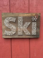 ski string art - nail rustic