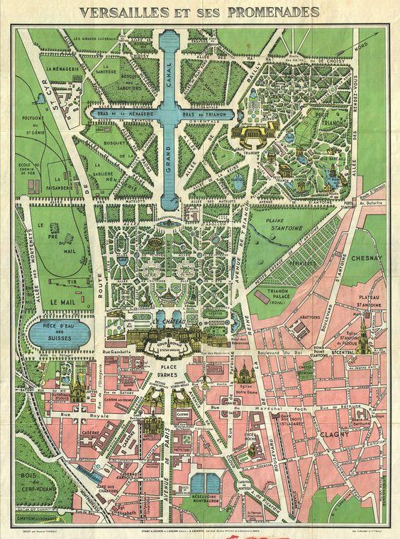 1920s Leconte Map of Versailles Gardens | 1664 Franse tuin: koppeling landschaft & macht, symmetrie, Axialität/allignment -> intimidatie, structuur, natuur wordt 'aangepast' machtspel, 'touwtjes in de hand', onderwerping en dominatie: