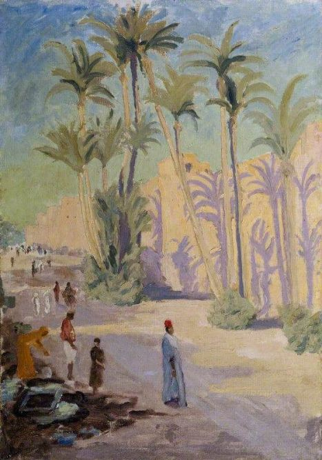 winston spencer churchill(1874–1965), palm trees and people at marrakech, c.1935. oil on board, 50 x 35.5 cm. national trust, uk http://www.bbc.co.uk/arts/yourpaintings/paintings/palm-trees-and-people-at-marrakech-218736: