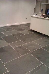 Large rectangular 'clean' slate tiles laid on kitchen ...