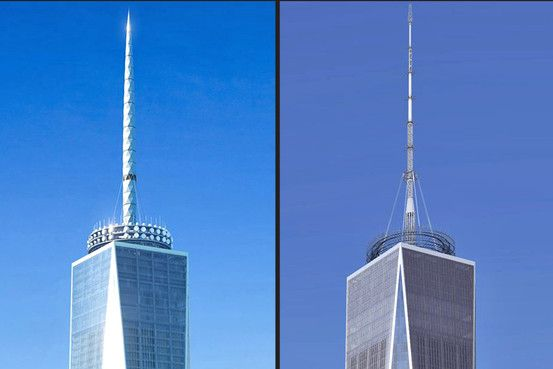 The change of the antenna of One World Trade Center