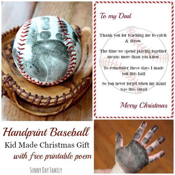 Handprint Baseball Kid Made Christmas Gift With Free